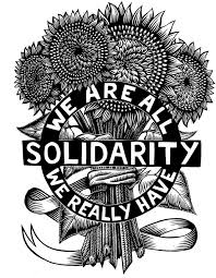 A bunch of 4 sunflowers are wrap together with the words we are all solidarity, we really have