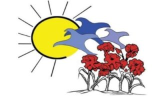 A sun in the left, three blue birds, and seven red flowers growing in the soil