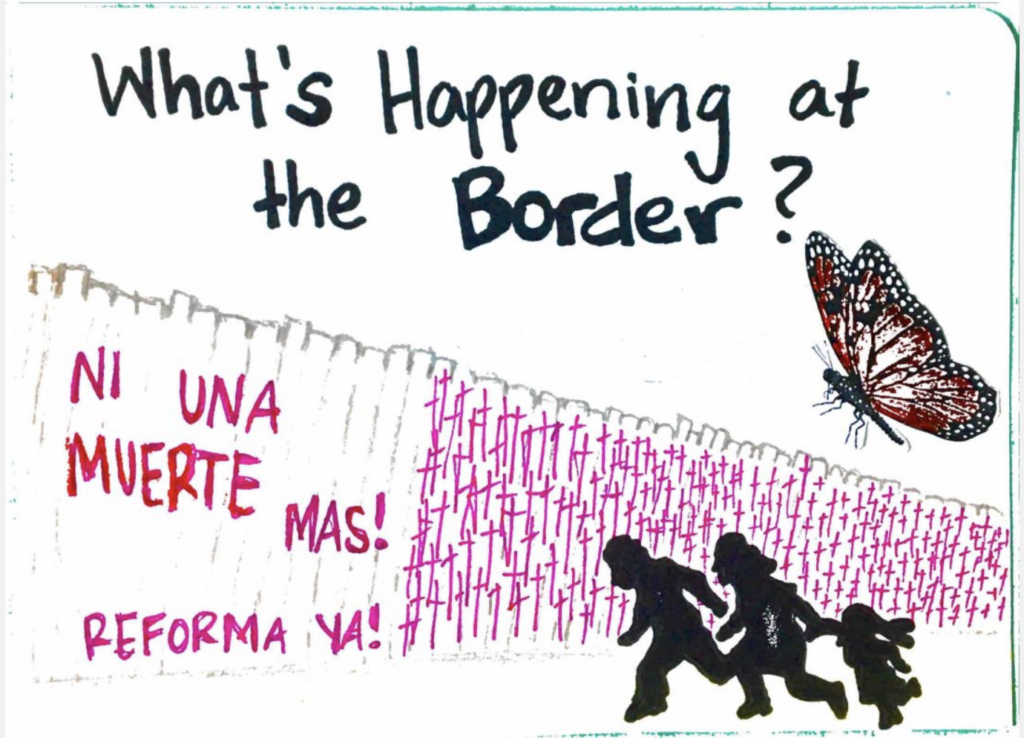 Illustration of the border wall with dark figures running by it.