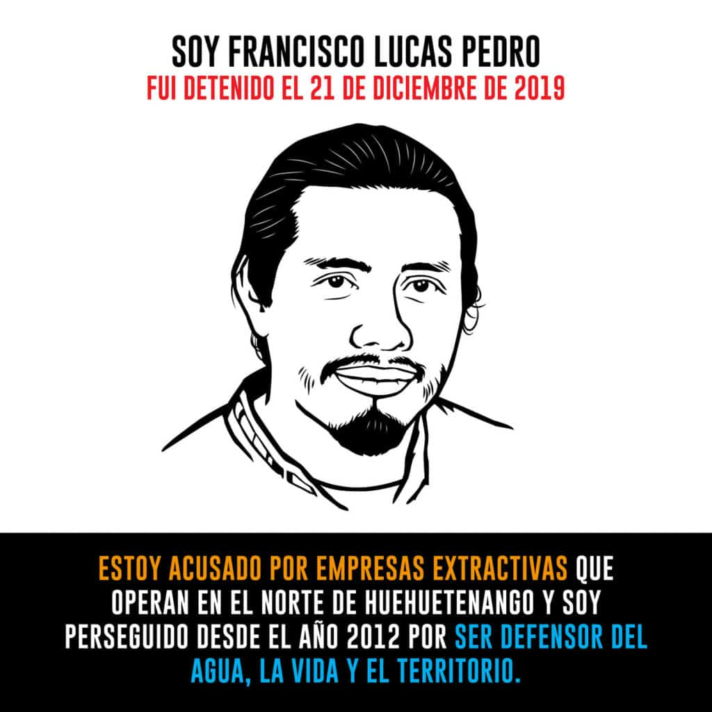 A graphic with water defendant Francisco Lucas Pedro that says: