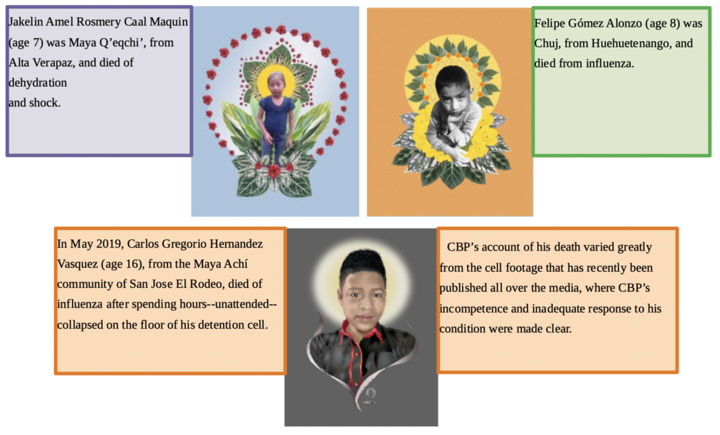 Graphic showing the faces of three children with text boxes about them.