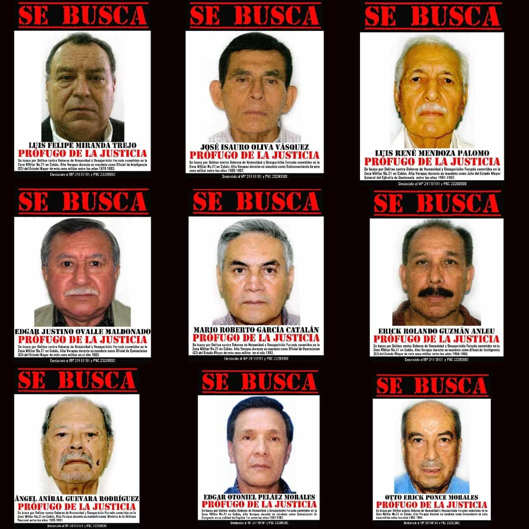 Flyers showing the faces and info of 9 accused men on the CREOMPAZ case