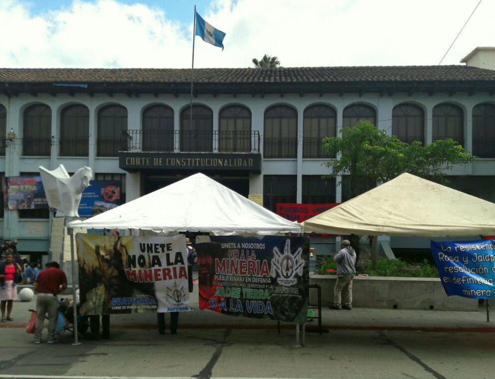 Peaceful Resistance Camp in Casillas protests in front of Guatemalan Constitutional Court