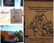 """Collage of three pictures, in the first one on the left, a sign that reads they wanted to bury us, but we were seeds with a picture. Second one picture of a mural in Rabinal, the word justice can be read. Third picture shows a """"empapelada"""" showing a woman holding her son and with a sentence that says: No more criminalization or separation of migrant families"""