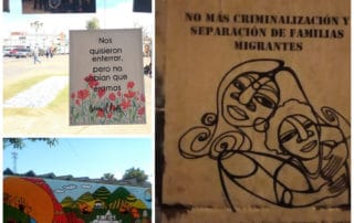 "Collage of three pictures, in the first one on the left, a sign that reads they wanted to bury us, but we were seeds with a picture. Second one picture of a mural in Rabinal, the word justice can be read. Third picture shows a ""empapelada"" showing a woman holding her son and with a sentence that says: No more criminalization or separation of migrant families"