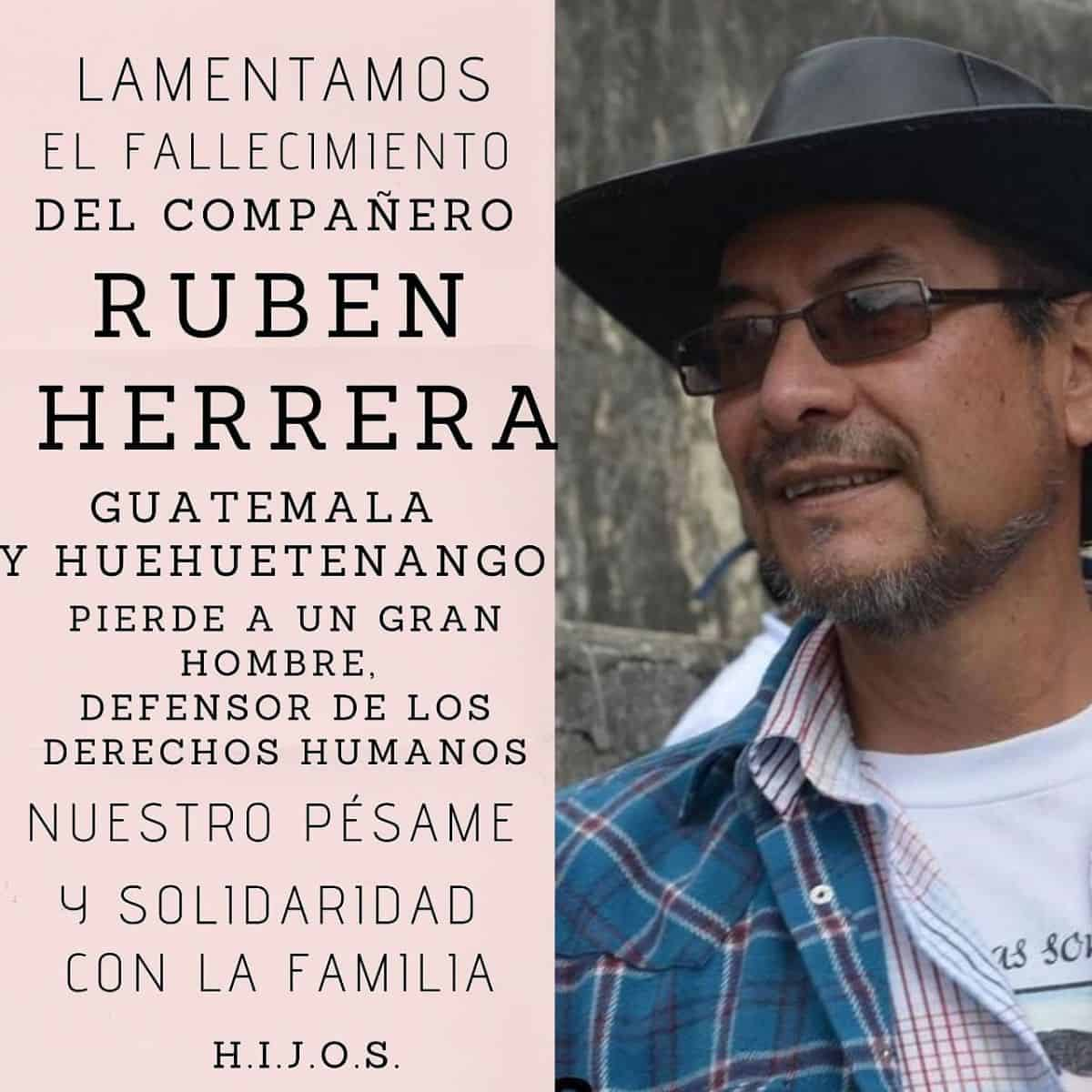 Flyer in memoriam of Ruben Herrera, shows Ruben in one side with hats and glasses