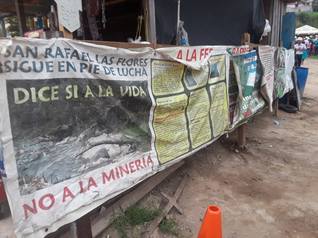 Photograph of signs at the resistance encampment in Casillas.
