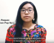 """Screenshot of a video in which Silvia, a Maya Kaqchikel woman wearing a brighly colored huipil, is speaking. Next to her is text that reads """"Silvia Raquec Asociación Pop No'j"""""""