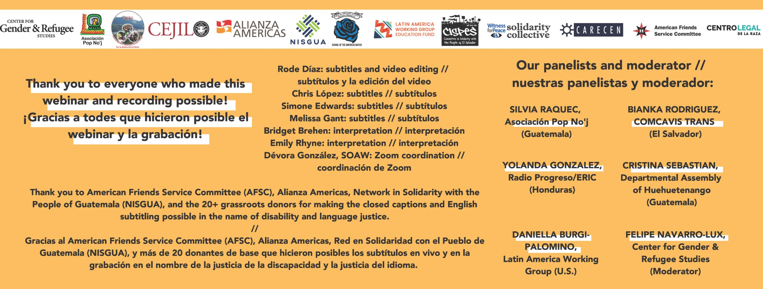 Graphic with thanks to the organizations that sponsored the webinar and the volunteers and staff who made it possible.