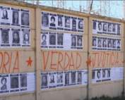 """Picture of a wheat-pasted wall with the words """"Memory, Truth, Justice"""". Photo credit: H.I.J.O.S. Guatemala."""