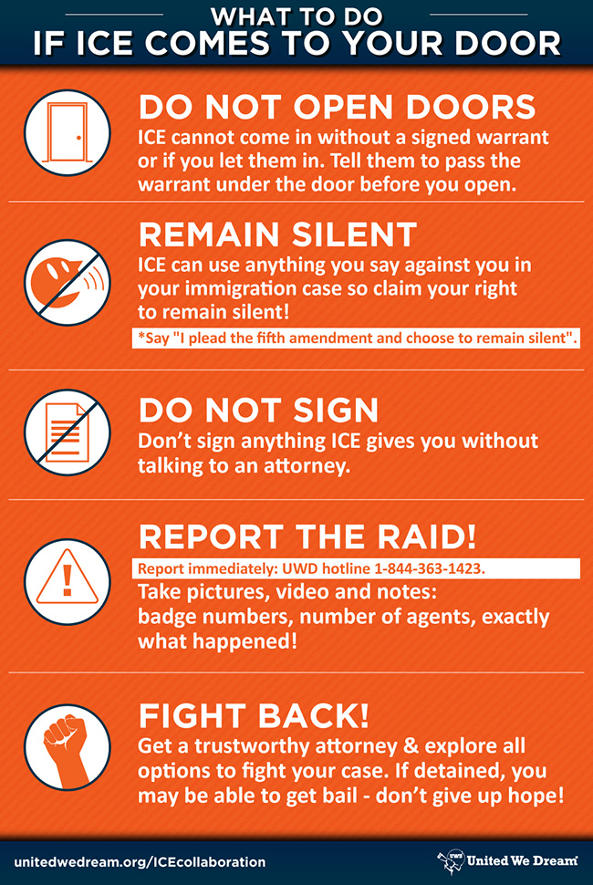 Graphic of what to do if ICE comes to your door.